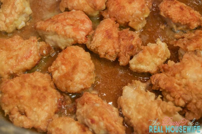 Easy Orange Chicken. Cooking the chicken