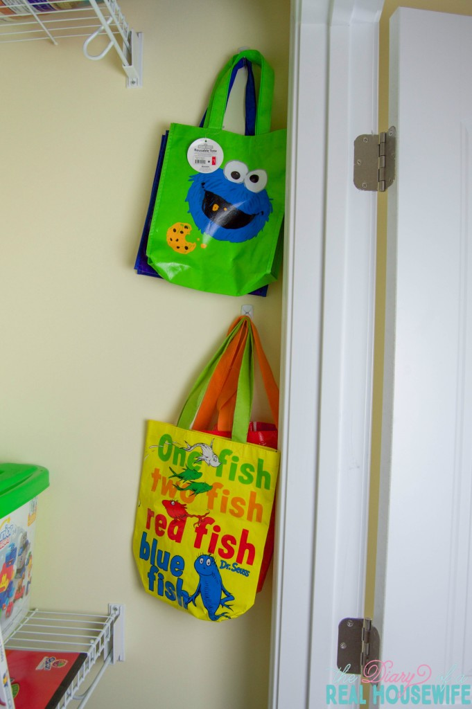 Bags in Homeschool Closet Organizations