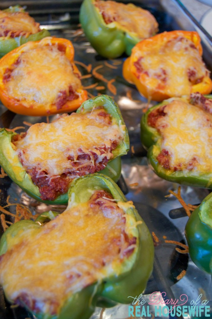 Out of the oven. Quinoa Sloppy Joe Stuffed Peppers