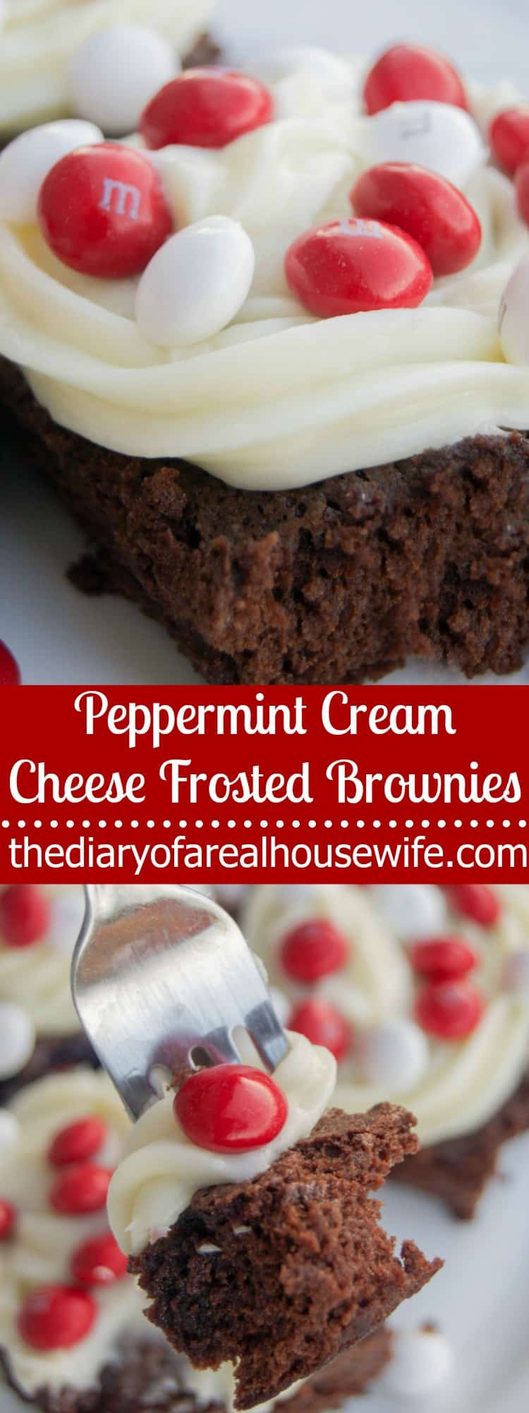 Peppermint Cream Cheese Frosted Brownies